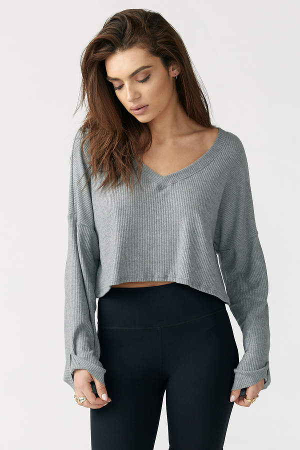 JOAH BROWN Paris Gray Ribbed Long Sleeve Crop