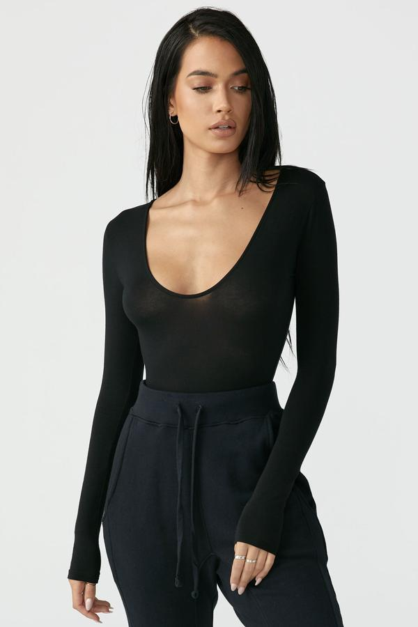 JOAH BROWN Black Scoop Neck Long Sleeve