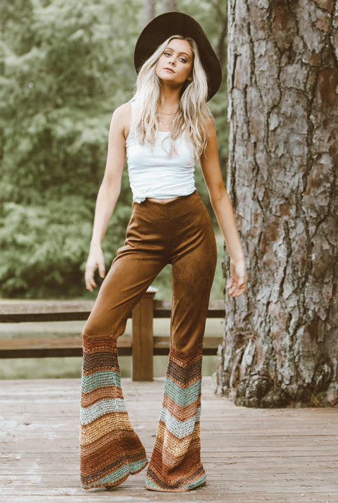 JUDITH MARCH Suede Flare Pants with Multi Chevron Crochet
