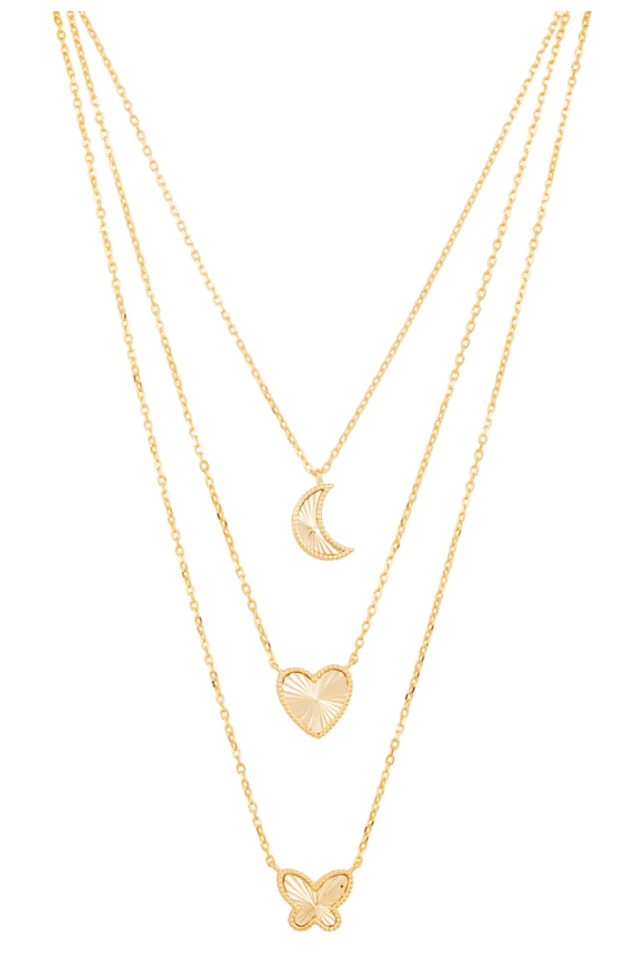 SAHIRA 14K Gold Moon Pendant Necklace
