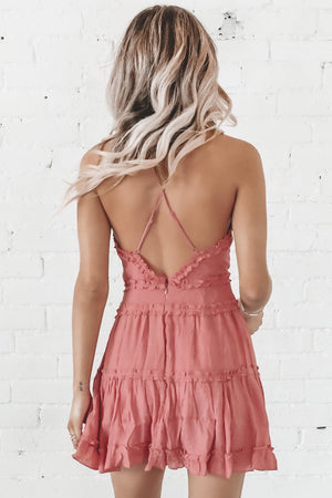 Mind Over Matter Mauve V Neck Dress