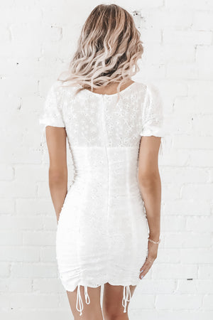Love Me White Ruched Dress