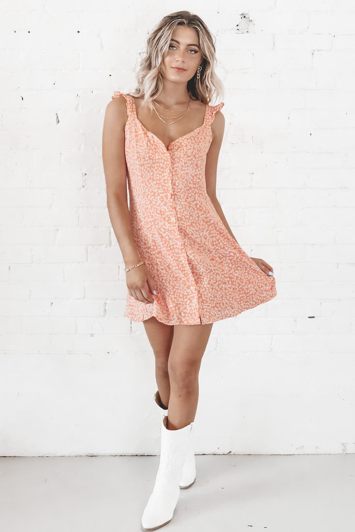 Roof Top Front Button Mini Dress