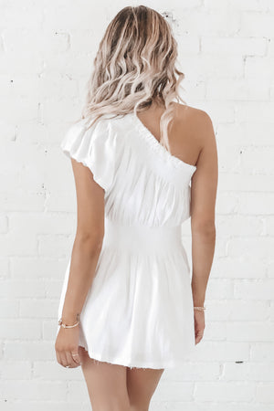 Unbothered White Linen One Shoulder Dress