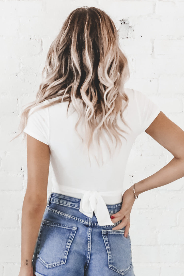 Not Your Average Girl White Wrap Bodysuit