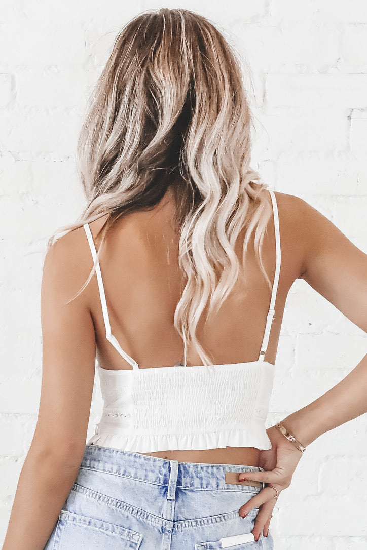 I Make The Rules White Lace Crop Top