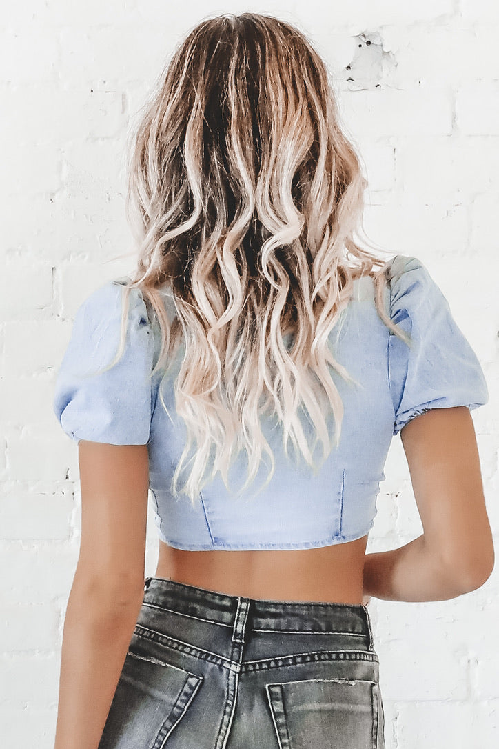 Denim Is A Girls Best Friend Lace Up Top