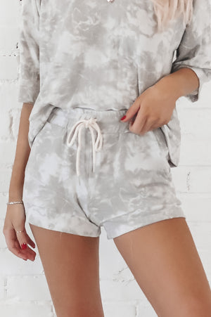 Gray Clouds Tie Dye Lounge Shorts