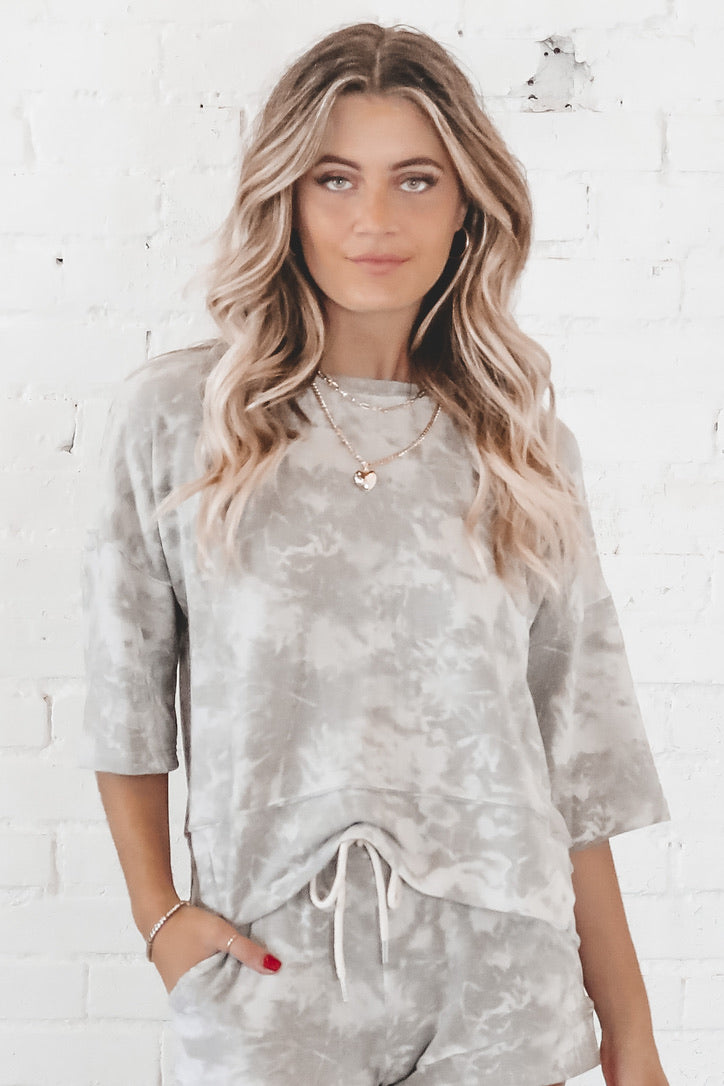 Gray Clouds Tie Dye Lounge Top