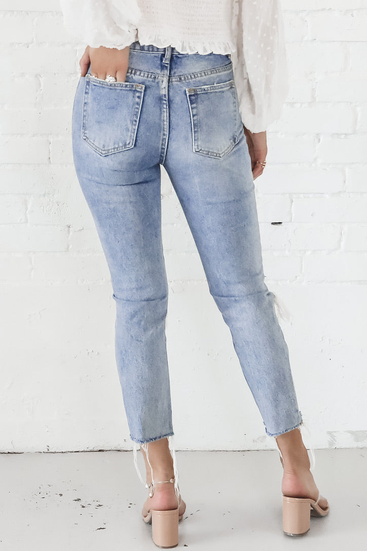 Heading Straight Over Distressed Denim Pants
