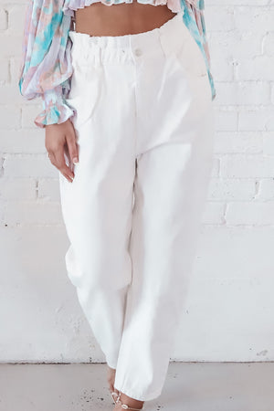 Summer Skies White Paper Bag Denim Pants