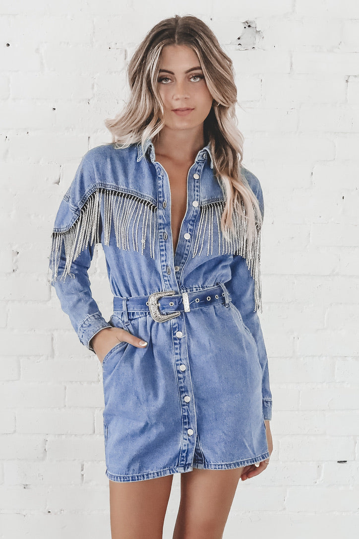 Denim But Make It Extra Rhinestone Dress