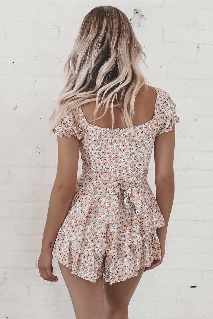 Power Move Floral Pink Romper