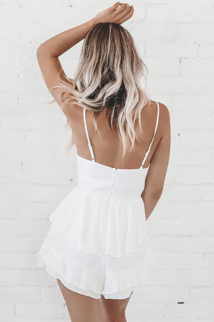 Like Woah White Ruffled Romper
