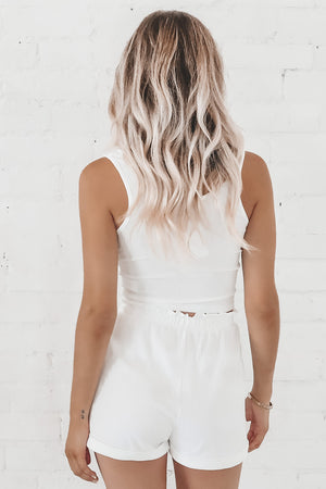 Call In Cozy White Tank And Shorts Set