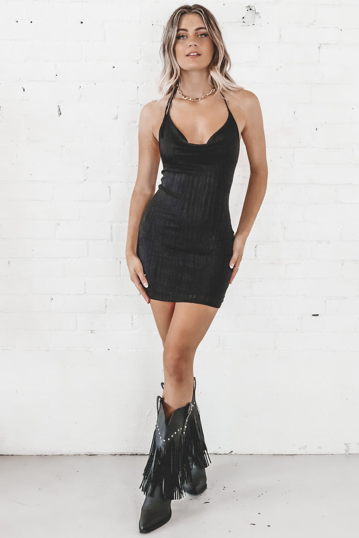 Honeymoon Phase Black Mini Dress