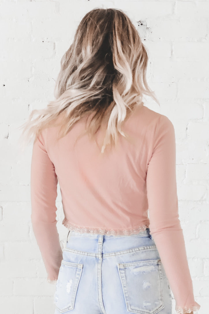 Attention Please Peach Cardigan Top
