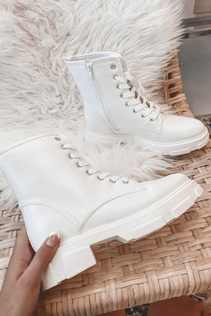 Walk Right In White Lace Up Boots