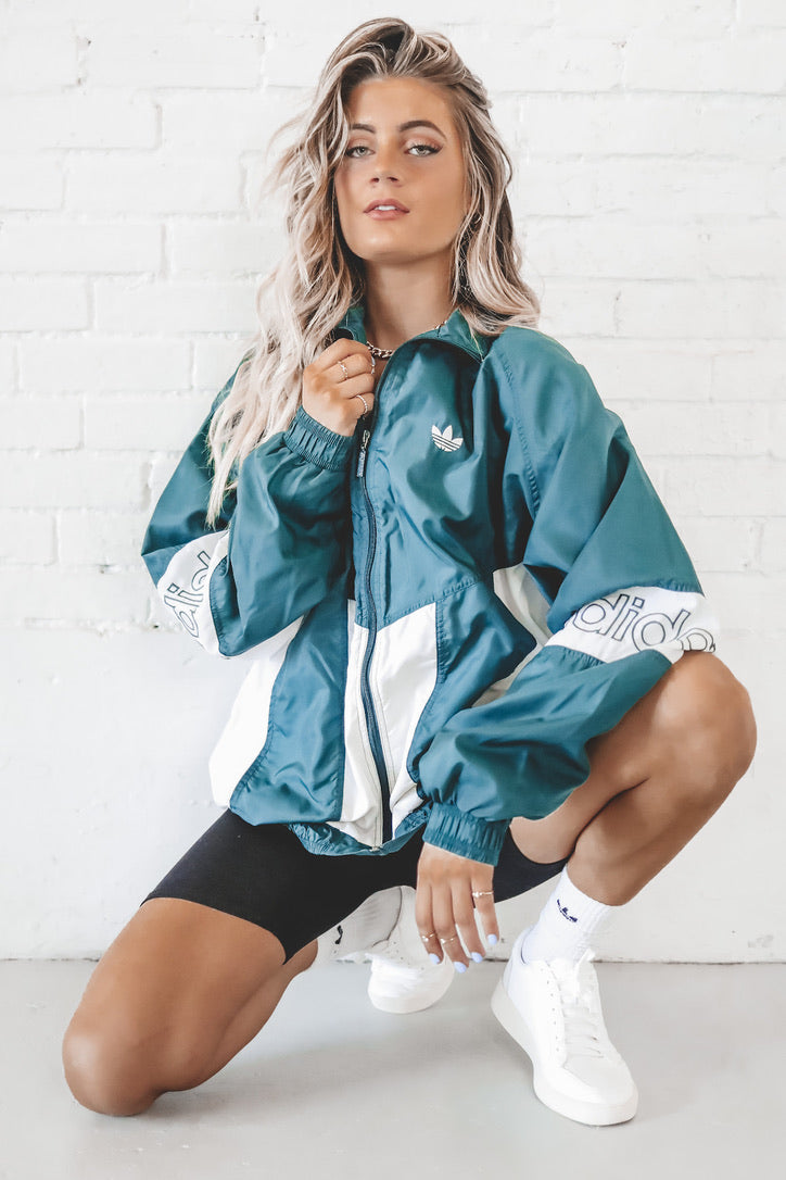 VINTAGE 90's Green Adidas Zip Up Windbreaker 123
