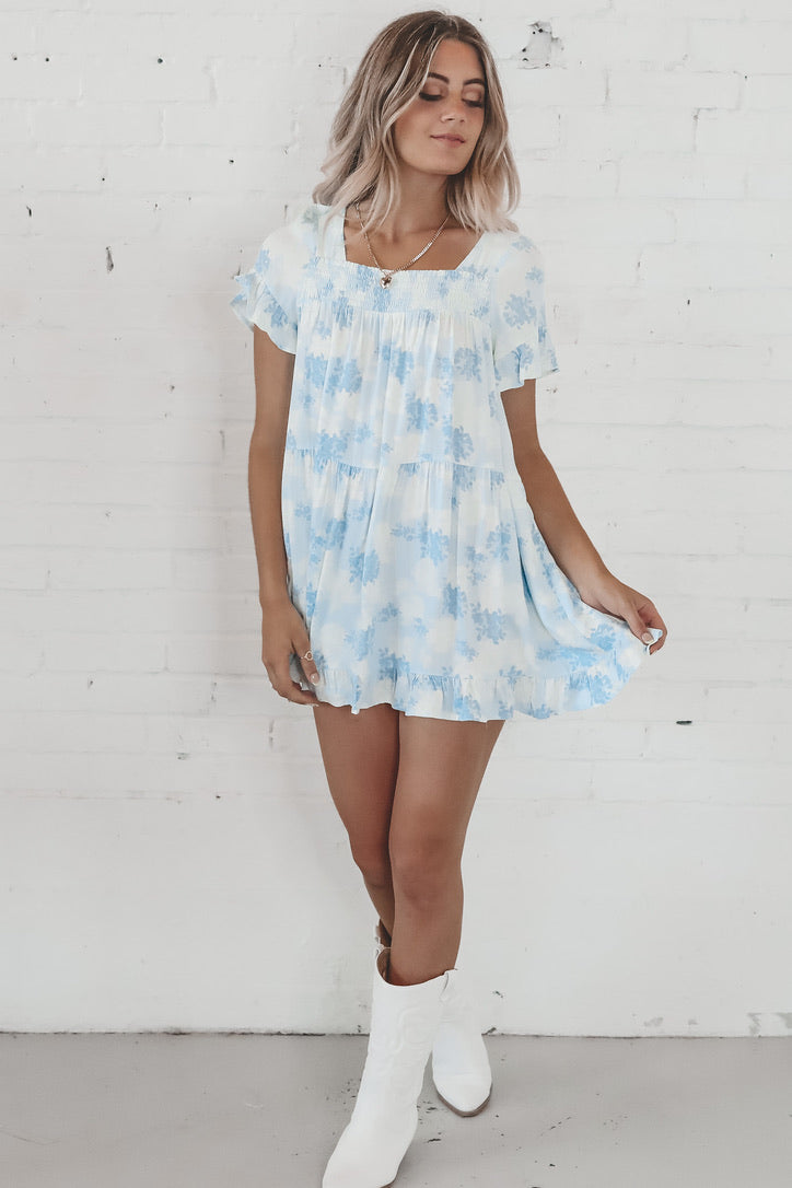 Oh Boy Blue Babydoll Dress