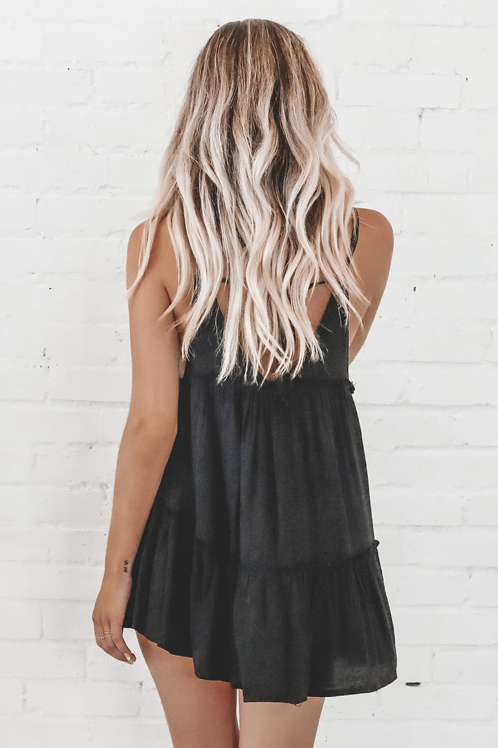 You're My Forever Black Tiered Dress