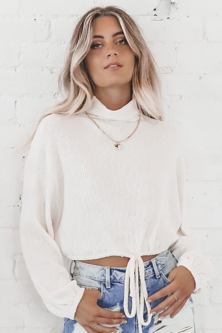 Seaside Cream Crop Sweater