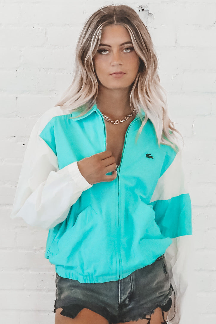 90's Prep VINTAGE Izod Lacoste White And Teal Windbreaker 127