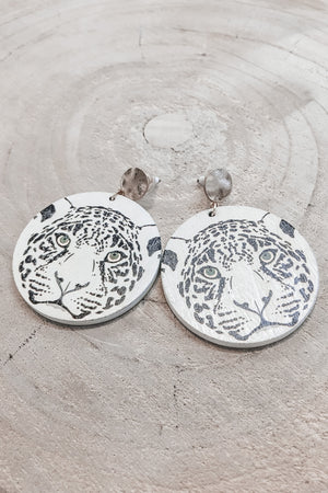Hey Tiger Wooden Circle Earrings