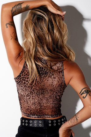 MOTEL Bika Vest Top In Mesh Gradient Cheetah Brown