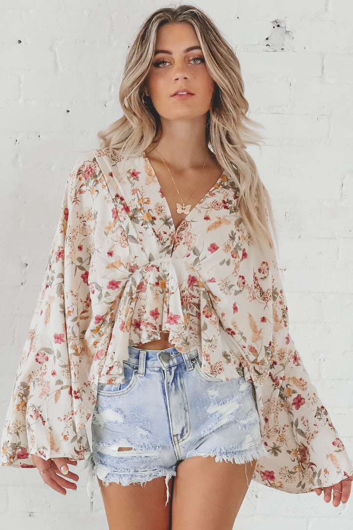 Band Of Gypsies Desert Flower Floral Bell Sleeve Top