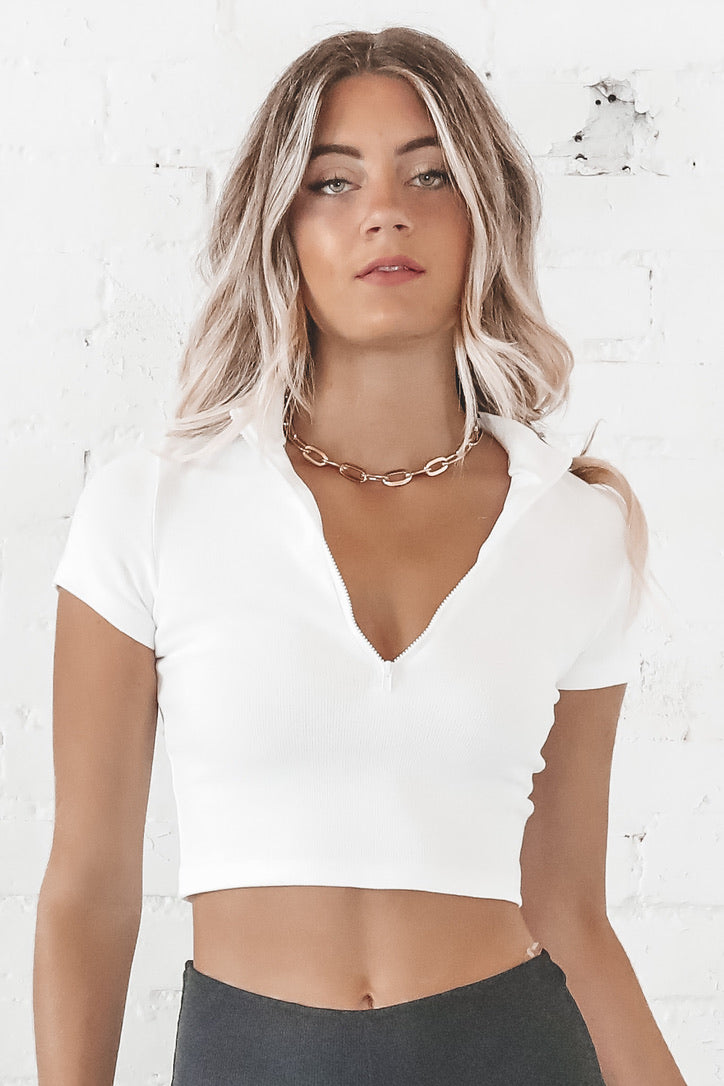 I Work Out White Crop Top
