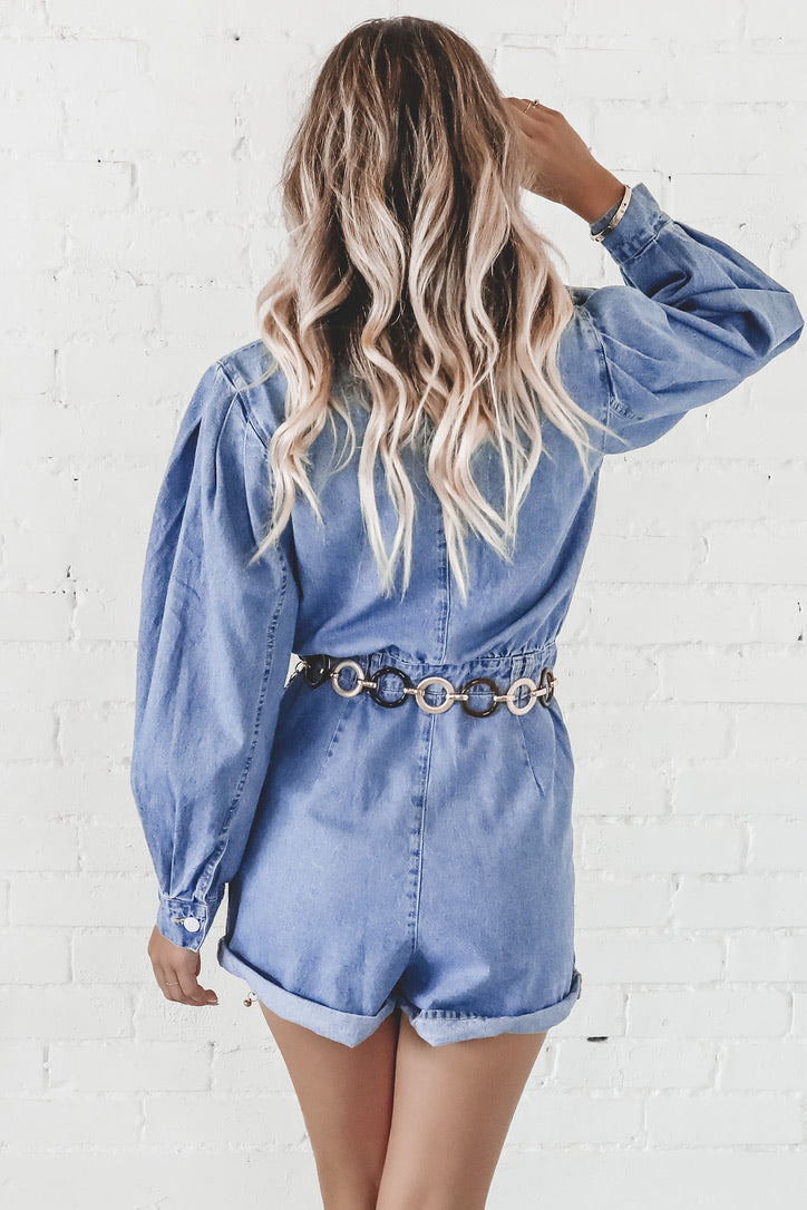 There's A New Babe In Town Denim Romper