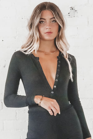 It's Been Awhile Black Long Sleeve Bodysuit