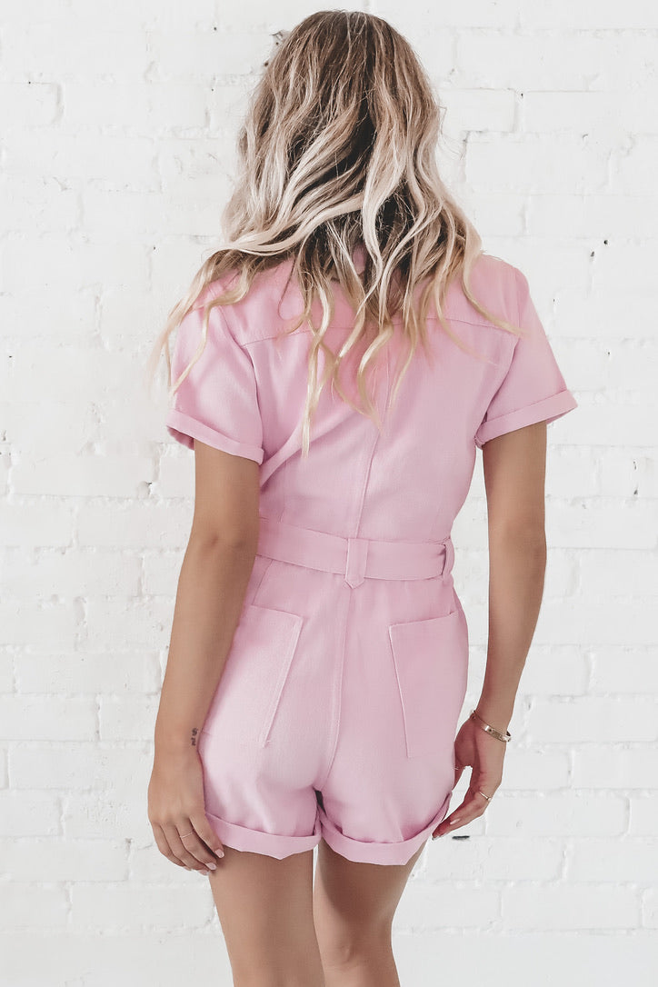 Broadway Street Barbie Pink Denim Romper