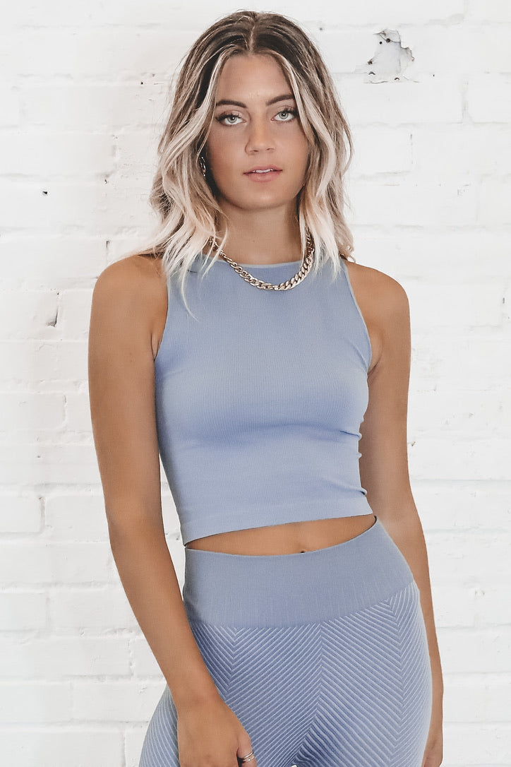 Work From Home High Neck Ribbed Crop Top