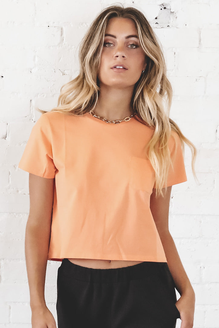 RICHER POORER Women's Cantaloupe Pima Boxy Crop Tee