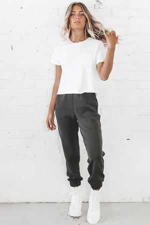 RICHER POORER Women's White Pima Boxy Crop Tee