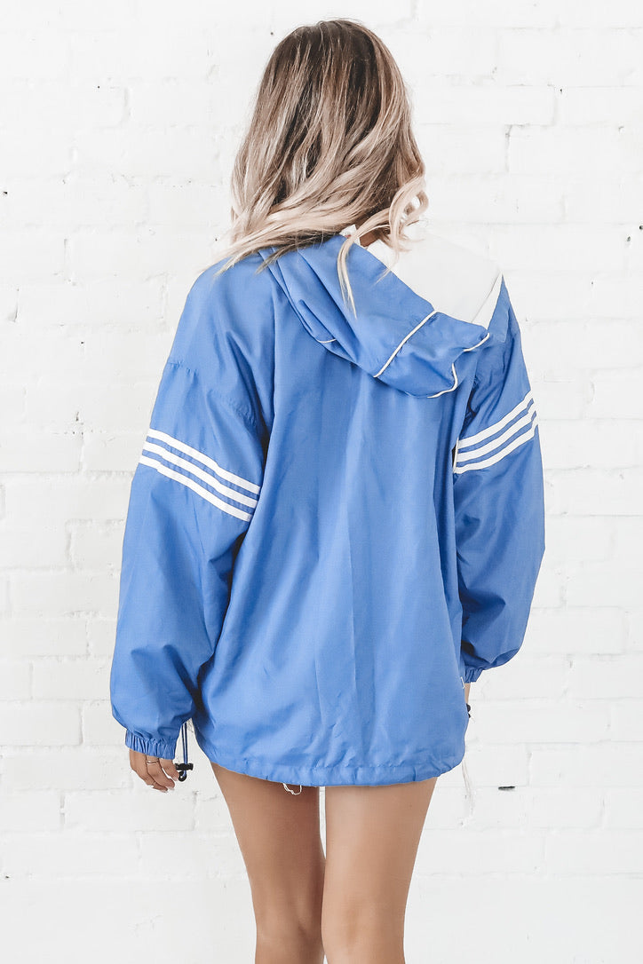 VINTAGE 90's Blue And Black Color Block Adidas Windbreaker 134