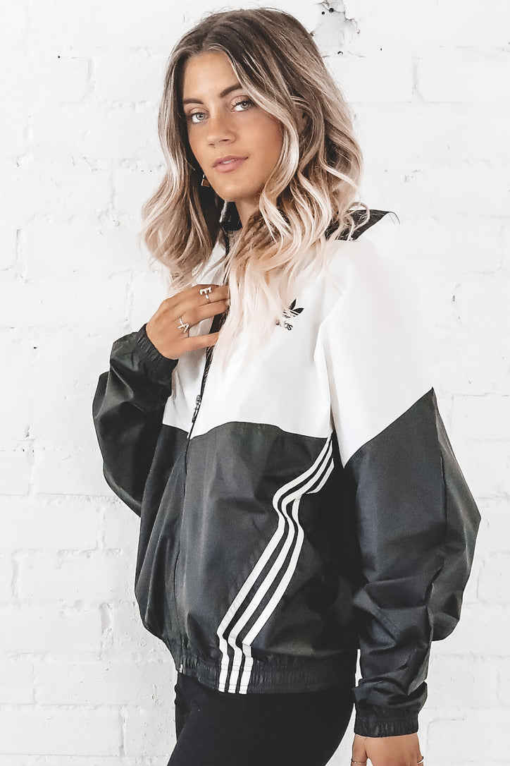 VINTAGE 90's Black And White Full Zip Adidas Windbreaker 137