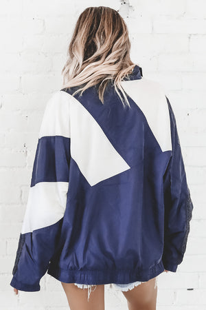VINTAGE 90's Navy And White Full Zip Adidas Windbreaker 138