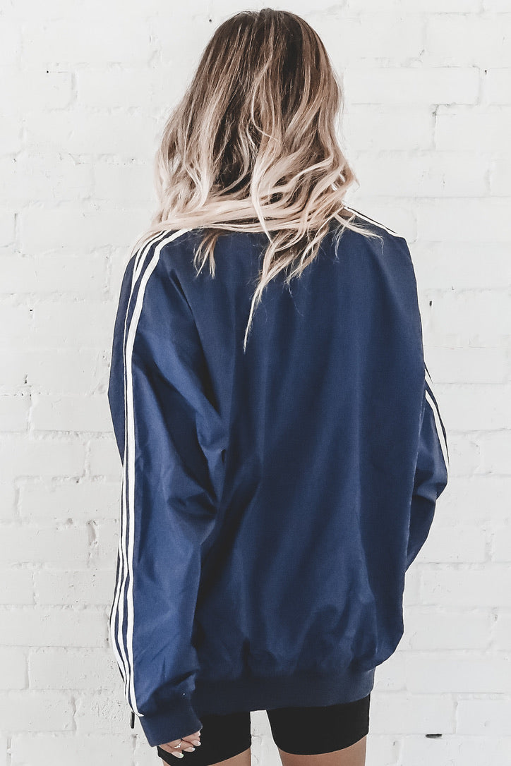 VINTAGE 90's Navy And White Adidas Pullover Windbreaker 141