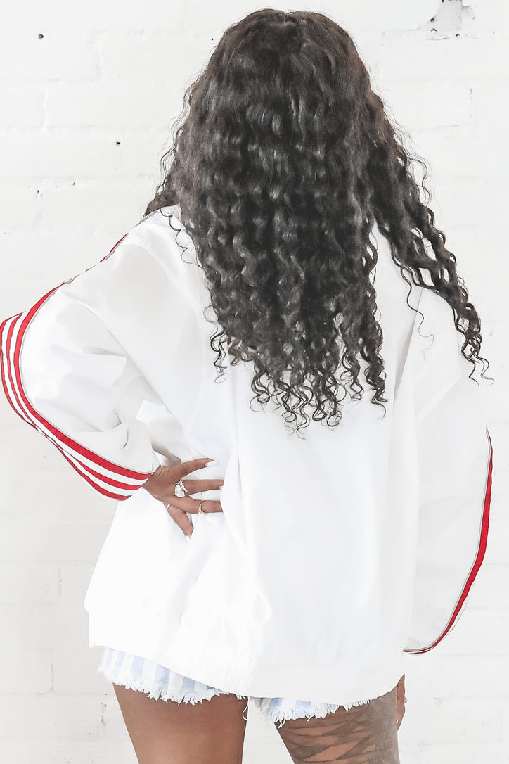 VINTAGE 90's Red And White Adidas Full Zip Windbreaker 142