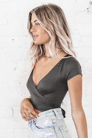 Not Your Average Girl Black Wrap Bodysuit