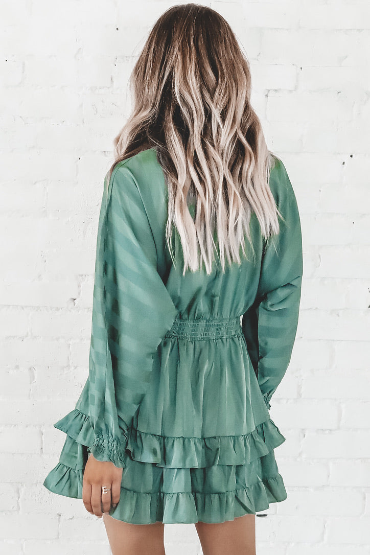 Greener On Our Side Ruffle Mini Dress