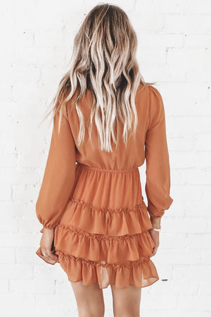 Choose Me Camel Ruffle Mini Dress