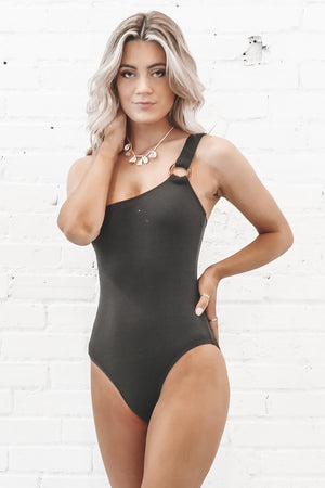 Give Me A Ring Black One Shoulder One Piece