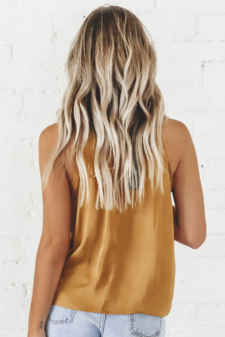 Go For Gold Silky Tie Top