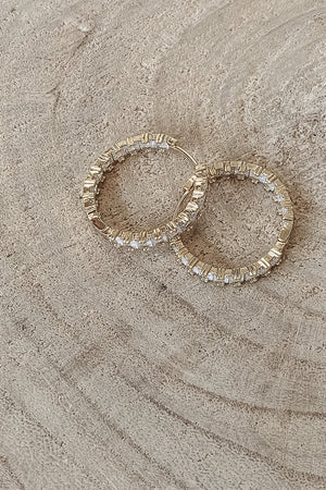 SAHIRA 14k Gold Fancy Sparkle Hoops