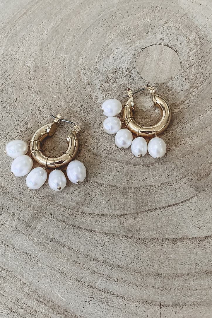SAHIRA 18k Gold Pearl Mini Hoops