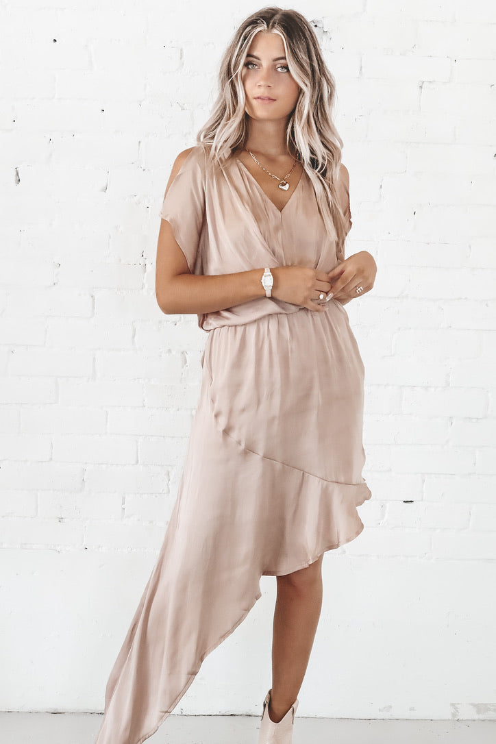 Dance With Me Champagne Mini Dress